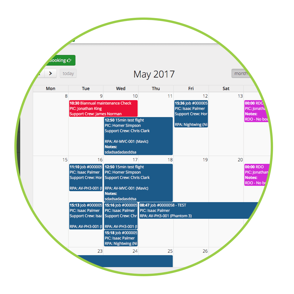 Booking manager and work calendar